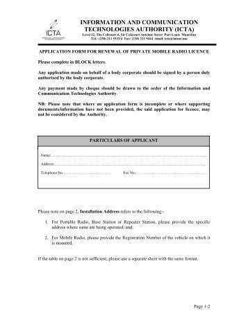Renewal form for APVSP Section 1: Company Details Section 2 ...