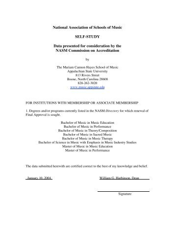 NASM Self-Study 2004 - Hayes School of Music - Appalachian State ...