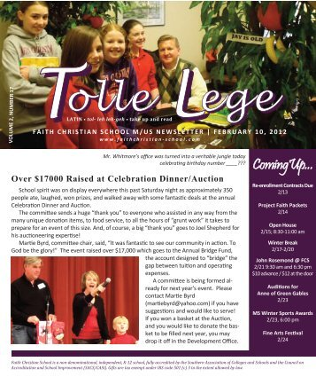 Feb. 10, 2012, Volume 2, Number 17 - Faith Christian School