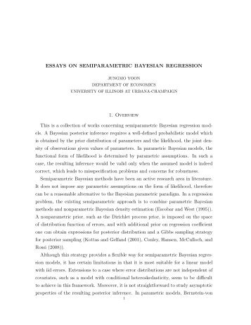 essays on semiparametric bayesian regression Throughout the thesis, we emphasize that quantile regression provides a nonparametric method to construct the probabilistic model, the likelihood, so it provide a simple but powerful strategy for semiparametric bayesian methods.