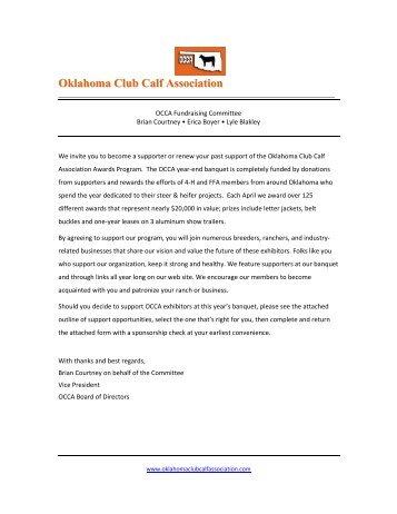 OCCA Sponsorship Information - the Oklahoma Club Calf Association