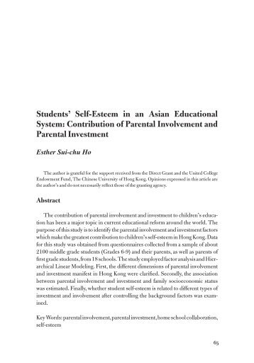 Students' Self-Esteem in an Asian Educational System - Academic ...