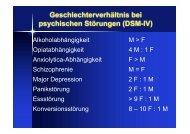 Geschlechterverhältnis bei psychischen Störungen (DSM-IV)