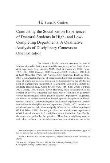Contrasting the Socialization Experiences of Doctoral Students in High