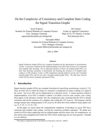 On the Complexity of Consistency and Complete State Coding for ...