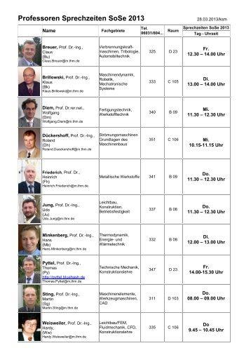 Professoren Sprechzeiten SoSe 2013