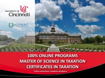 Masters in Taxation - University of Cincinnati