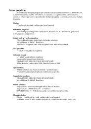 Názov projektu: - Slovenská psychoterapeutická spoločnosť