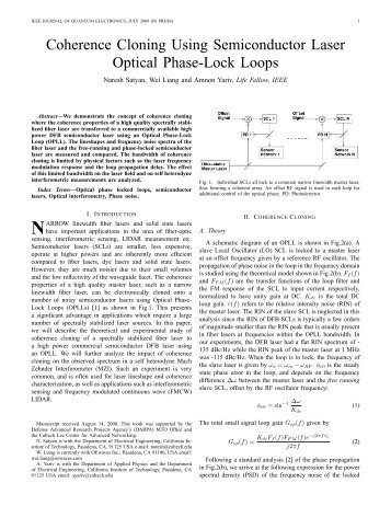 Coherence Cloning Using Semiconductor Laser Optical Phase-Lock ...