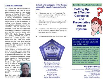 Setting Up an Effective Corrective and Preventative Action System