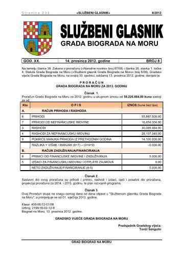 Službeni glasnik Grada Biograda na Moru - broj 8/12 - Grad Biograd ...