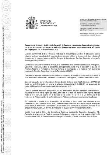 Resolución Concesión de Estancias Breves en 2013 - Ministerio de ...