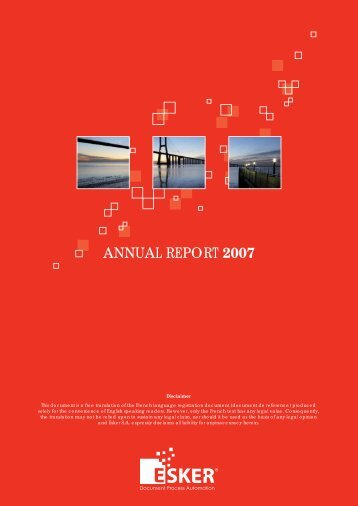 ANNUAL REPORT 2007 - Esker