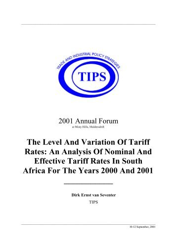 The Level And Variation Of Tariff Rates: An Analysis Of ... - tips