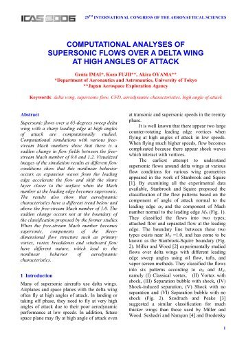 computational analyses of supersonic flows over a delta wing at - ICAS