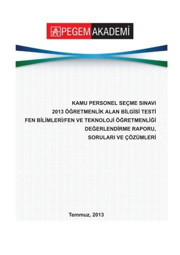 Fen ve Teknoloji Öğretmenliği Değerlendirme Raporu, Soruları ve ...