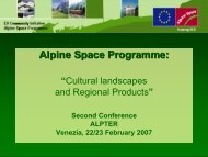 Cultural landscapes and Regional Products - Project ALPTER