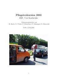 Pfingstexkursion 2003 IBF, Uni Karlsruhe