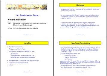 L6: Statistische Tests Verena Hoffmann - IBE