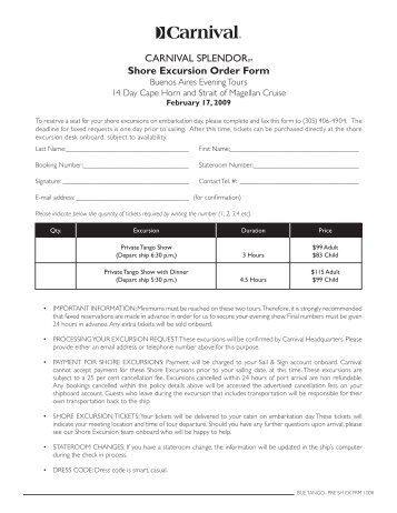 Shore Excursion Order Form - Carnival Cruise Lines