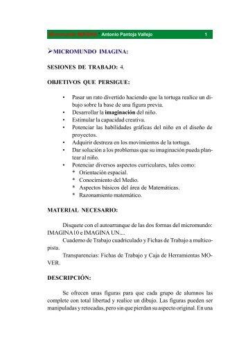 MICROMUNDO IMAGINA: SESIONES DE TRABAJO: 4. OBJETIVOS ...