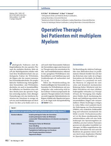 Operative Therapie bei Patienten mit multiplem Myelom - Springer