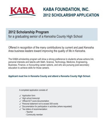 kaba foundation, inc. scholarship application - Kenosha Area ...