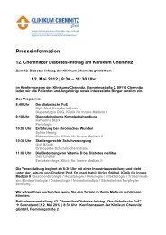 12. Mai 2012 | 8:30 – 11:30 Uhr - Klinikum Chemnitz