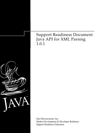 Support Readiness Document Java API for XML Parsing 1.0.1