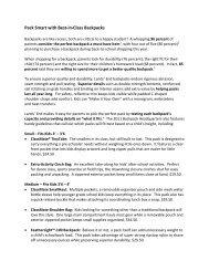 Best-in-Class Backpacks Fact Sheet - Lands' End