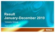 CEO Presentation on 2010 Annual Result - Vaisala