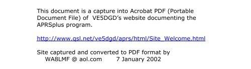 APRS+SA HTML Document - Welcome - WA8LMF Home Page