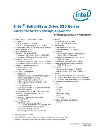Intel Solid-State Drive 320 Series Enterprise Server/Storage ...