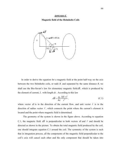 99 Magnetic Field Of The Helmholtz Coils In Order To Derive