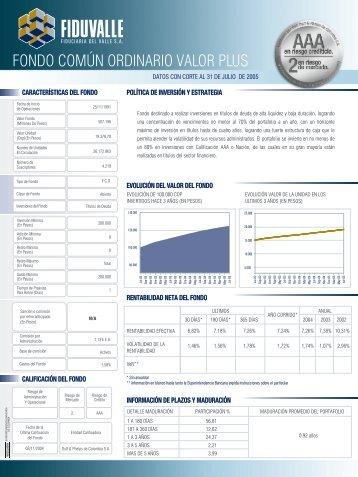 FONDO COMÚN ORDINARIO VALOR PLUS - Corficolombiana