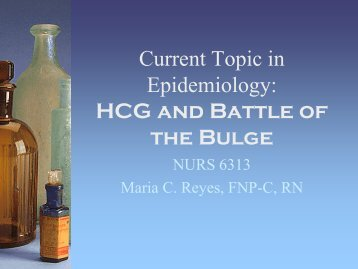 Current Topic in Epidemiology HcG and Battle of ... - essentiavitae.com