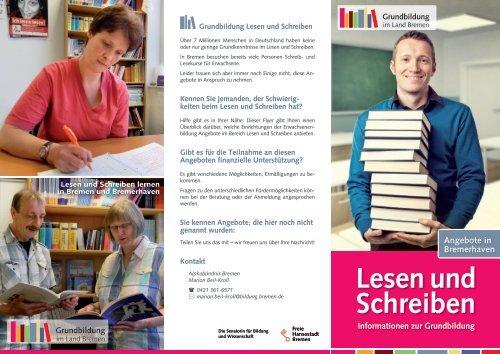 Flyer: Lesen und Schreiben lernen in Bremerhaven