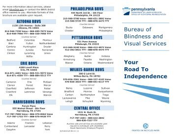 Bureau of Blindness and Visual Services Your Road To Independence