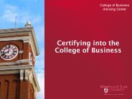 Certifying into the College of Business