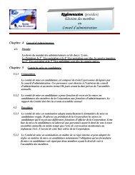 Réglementation Élection des membres au Conseil d'administration