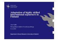 Adaptation of highly skilled international sojourners in ... - Helsinki.fi