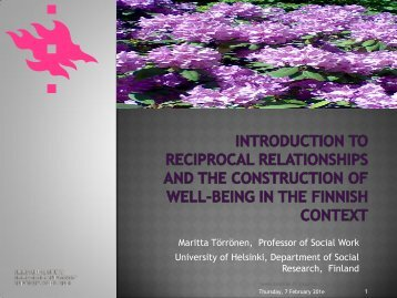 Introduction to Reciprocal Relationships and the ... - Helsinki.fi