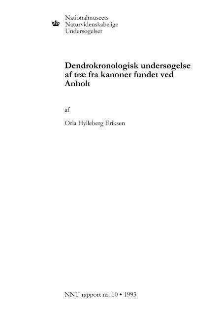 Dendrokronologisk undersøgelse af træ fra kanoner fundet ved Anholt