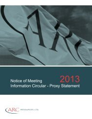 Notice of Meeting Information Circular - Proxy Statement - ARC ...