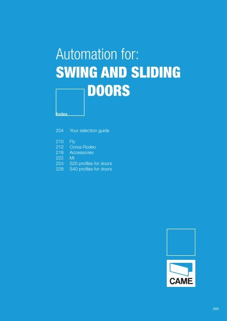 Automation for: SWING AND SLIDING DOORS - Fagel