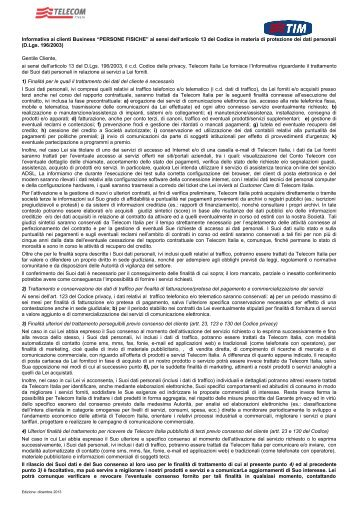 Informativa privacy persone fisiche - Impresa Semplice