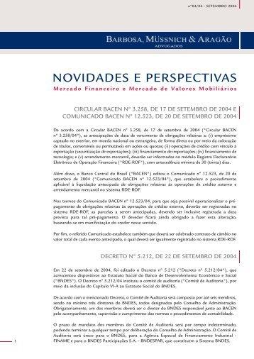 Mercado Financeiro e de Valores Mobiliários - Setembro 2004