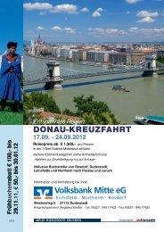 DONAU-KREUZFAHRT Entspanntes Reisen - Volksbank Mitte eG