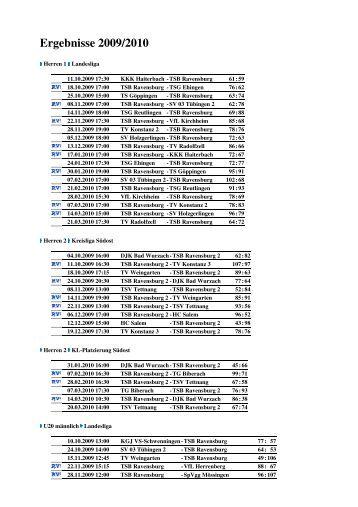 Ergebnisse und Spiele Saison 2009/2010 (PDF) - Tsb-baskets.de