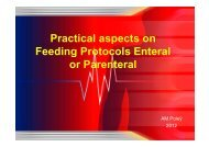 Practical aspects on Feeding Protocols Enteral or Parenteral